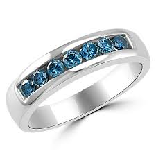 blue diamond wedding rings 0 80ct channel set mens blue diamond wedding band ring