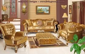 Gold Sofa Living Room Golden Fabric Classic Sofa Set Living Room Design Exclusive