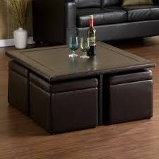 Coffee Table With Stools Underneath Foter - Table and chairs for living room