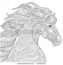 zentangle stylized cartoon horse mustang isolated stock vector