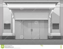 store front glass doors shop building store front with closed glass door stock vector