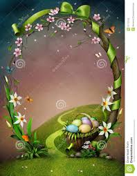 beautiful spring frame with flowers and easter eggs stock photos