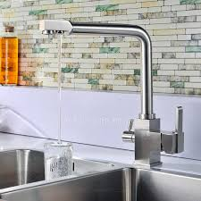 Kitchen Faucet Modern Modern Brushed Nickel Rotatable Kitchen Faucets Two Handles