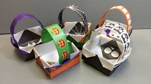 Send Halloween Gift Baskets Origami Halloween Basket Print Your Own Paper Youtube