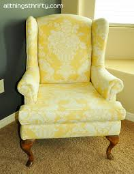 Queen Anne Wingback Chair Upholstering A Wing Back Chair Upholstery Tips All Things Thrifty