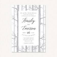 winter wedding invitations winter theme wedding invitations with winter birch tree forest