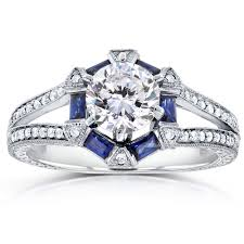 forever one ghi art deco moissanite engagement ring with sapphire