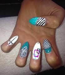 zebra print nails gems glitter turquoise white nail art