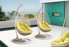 Outdoor Swingasan Chair Furniture Rattan Hanging Chair With White Pillows Made From