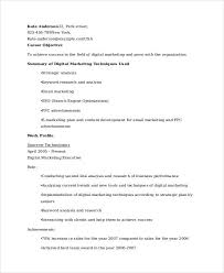 Marketing Resume Examples by Marketing Resume Samples 43 Free Word Pdf Documents Download