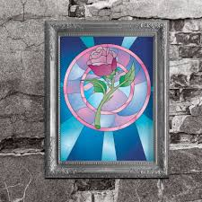 stained glass rose beauty and the beast inspired disney