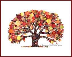 Autumn Tree Decorations Family Tree Button Art Tree Of Life Button Art With Swarovski