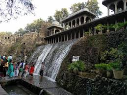 the lovely water fall picture of the rock garden of chandigarh