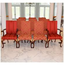 set of ten hickory chair dining chairs in red and gold upholstery