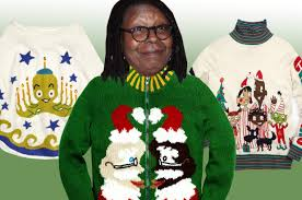 christmas sweaters whoopi goldberg shilling 139 christmas sweaters page six
