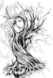 drawn dead tree twisted pencil and in color drawn dead tree twisted