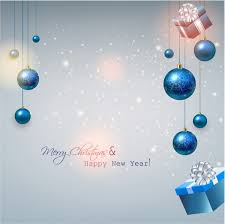 christmas background with gifts and blue balls free vector in