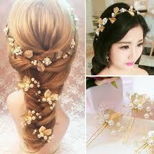 flower hair accessories 4pcs set diy hair accessories vintage gold leaf flower hair pins