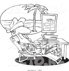 vector of a cartoon man taking a virtual vacation in his office