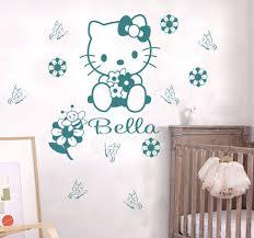 custom name cartoon hello kitty wall sticker kids nursery room