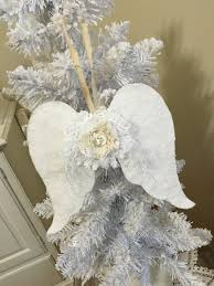 shabby fabric wings ornaments set of 3 by tatteredtreasures1