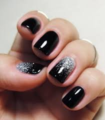 25 elegant black nail art designs black nails silver glitter