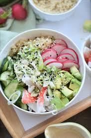 cuisine quinoa bol sushi goberge et sauce style wafu sur lit de quinoa cuisine