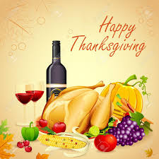 illustration of turkey fruits and wine in thanksgiving dinner