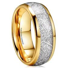 14k gold mens wedding band 8mm unisex or men s wedding band 14k gold plated domed tungsten