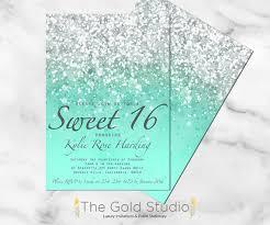 sweet 16 invitations customizable mint green glitter ombre sweet sixteen 16 printable
