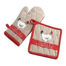 gant et manique de cuisine poule poussin deco cagne taupe couleur