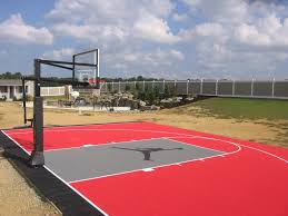 Backyard Basketball Court Backyard Half Basketball Court With Custom Logo Built By Deshayes