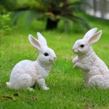 rabbit garden realistic resin white rabbit garden decor on aliexpress