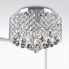 Chandelier With Black Shade And Crystal Drops Lighting Design Ideas Crystal Flush Mount Light 5 Light With