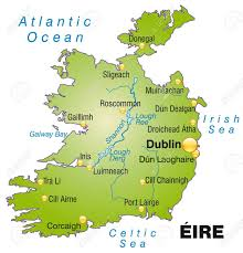 Dublin Ireland Map Map Of Ireland As An Overview Map In Green Royalty Free Cliparts