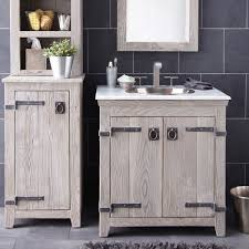 Rustic Bathroom Vanity Cabinets by Creative Distressed Wood Bathroom Vanities Using Rustic White Oak