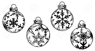 christmas ornaments black and white clipart stock photo picture