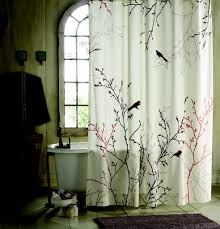 vintage bathroom with bird cloth shower curtain and free standing