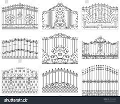 forged gates set decorative metal gates stock vector 397424563