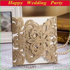 Customizable Wedding Invitations High Class Wedding Invitation Card Laser Cut Flower Brown