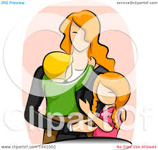 clipart of a sketched red haired caucasian mother with her son and