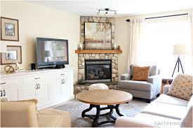backyards compact living room design with corner fireplace and