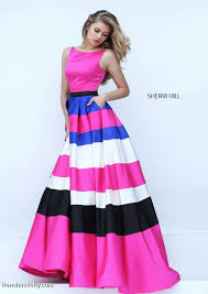 colorful dress sherri hill 50332 bold colorful stripe prom gown novelty