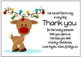christmas thank you cards personalised reindeer christmas thank you cards x 10 with