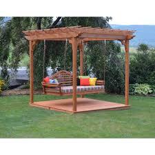 Swing Pergola A U0026 L Furniture Co Western Red Cedar 6 U0027x8 U0027 Pergola W Deck U0026 Swing