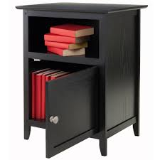 winsome trading company 1 door nightstand with open storage black