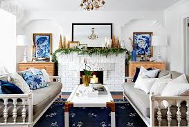 an artsy home decorated like a winter wonderland for the holidays