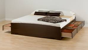 King Of Floors Laminate Flooring Bedroom Square Brown Wooden Bed Frame With Drawers Having White