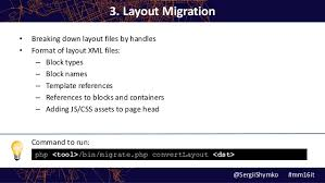 add js layout magento sergii shymko code migration tool for upgrade to magento 2