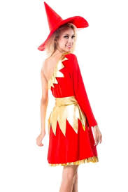 Red Witch Halloween Costume Red Shoulder Chic Womens Witch Halloween Costume Melodicday